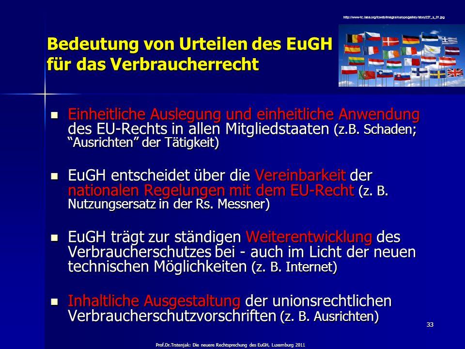 Prof.Dr.Trstenjak: Die neuere Rechtsprechung des EuGH, Luxemburg 2011 33 Bedeutung von Urteilen des EuGH für das Verbraucherrecht Einheitliche Auslegu