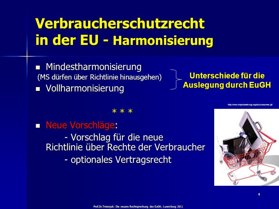 Prof.Dr.Trstenjak: Die neuere Rechtsprechung des EuGH, Luxemburg 2011 4 Verbraucherschutzrecht in der EU - Harmonisierung Mindestharmonisierung Mindes