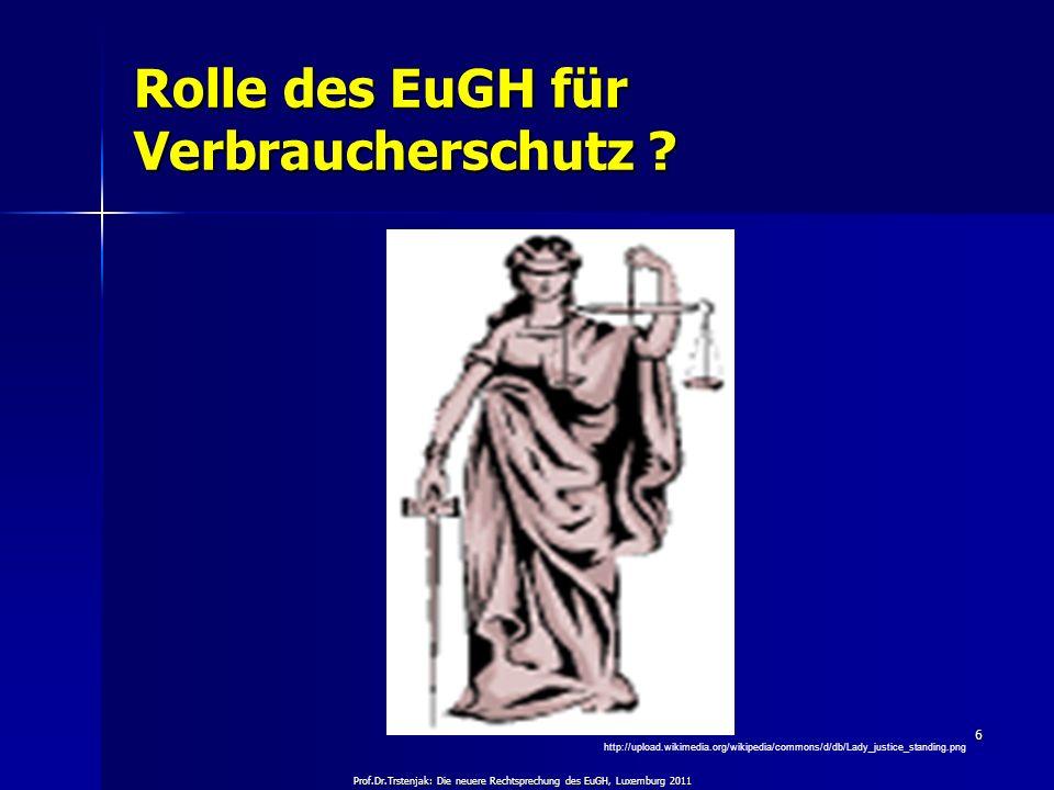 Prof.Dr.Trstenjak: Die neuere Rechtsprechung des EuGH, Luxemburg 2011 6 Rolle des EuGH für Verbraucherschutz ? http://upload.wikimedia.org/wikipedia/c