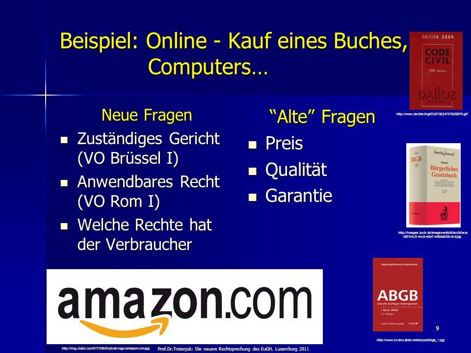 Prof.Dr.Trstenjak: Die neuere Rechtsprechung des EuGH, Luxemburg 2011 9 Beispiel: Online - Kauf eines Buches, Computers… Neue Fragen Zuständiges Geric