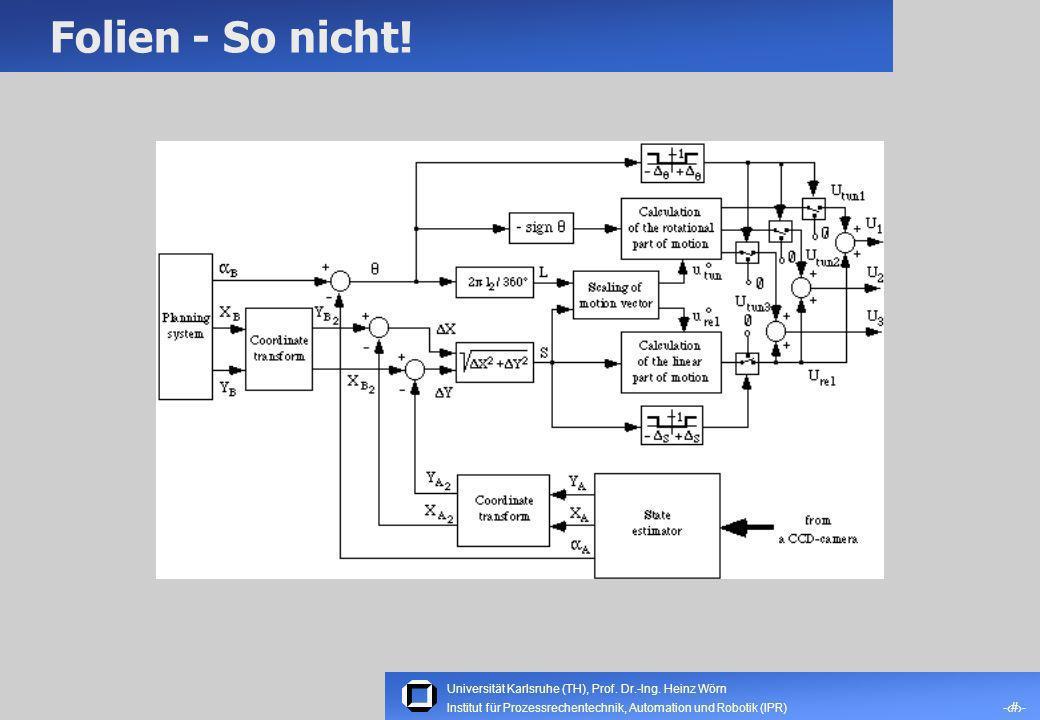 Universität Karlsruhe (TH), Prof. Dr.-Ing. Heinz Wörn -7- Institut für Prozessrechentechnik, Automation und Robotik (IPR) Folien – Schriftarten und -g