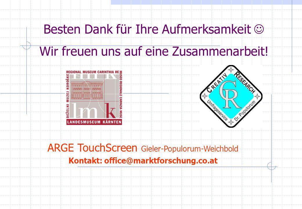 Besten Dank für Ihre Aufmerksamkeit Wir freuen uns auf eine Zusammenarbeit! ARGE TouchScreen Gieler-Populorum-Weichbold Kontakt: office@marktforschung