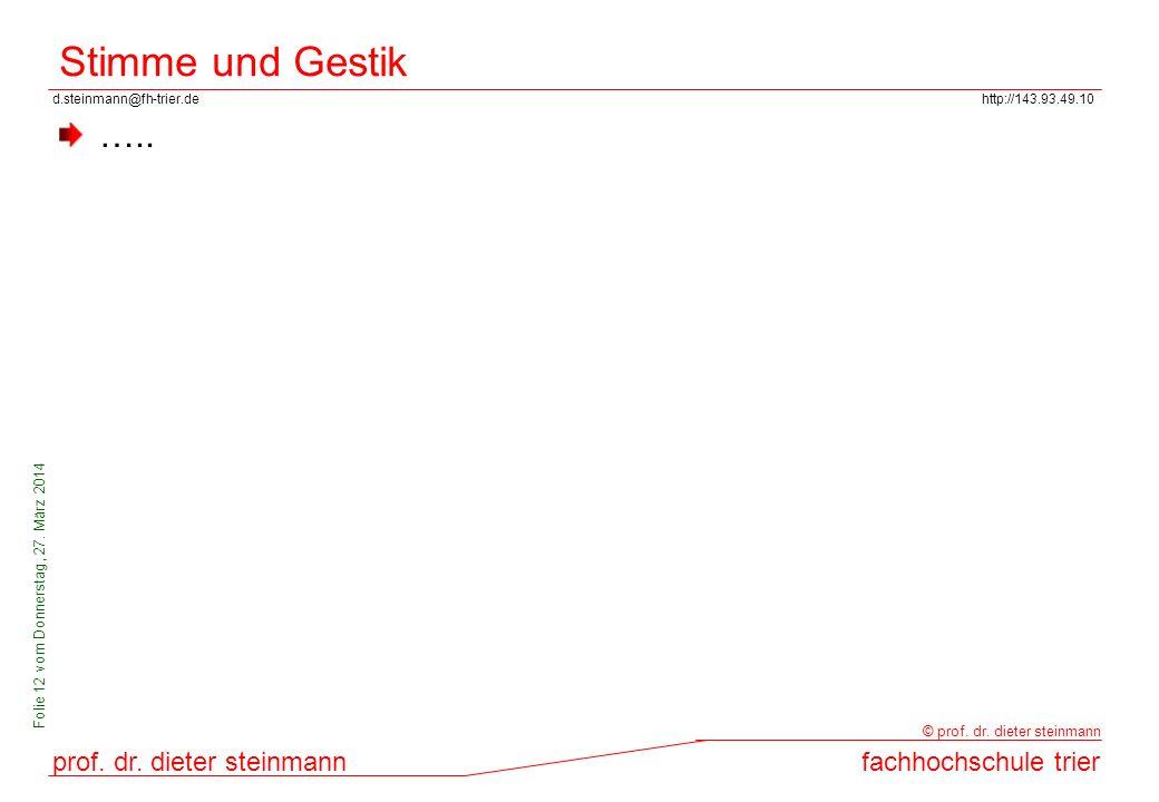 d.steinmann@fh-trier.dehttp://143.93.49.10 prof. dr. dieter steinmannfachhochschule trier © prof. dr. dieter steinmann Folie 12 vom Donnerstag, 27. Mä