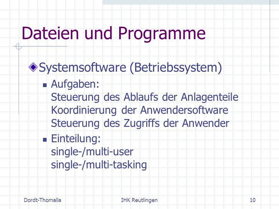 Dordt-ThomallaIHK Reutlingen10 Dateien und Programme Systemsoftware (Betriebssystem) Aufgaben: Steuerung des Ablaufs der Anlagenteile Koordinierung de