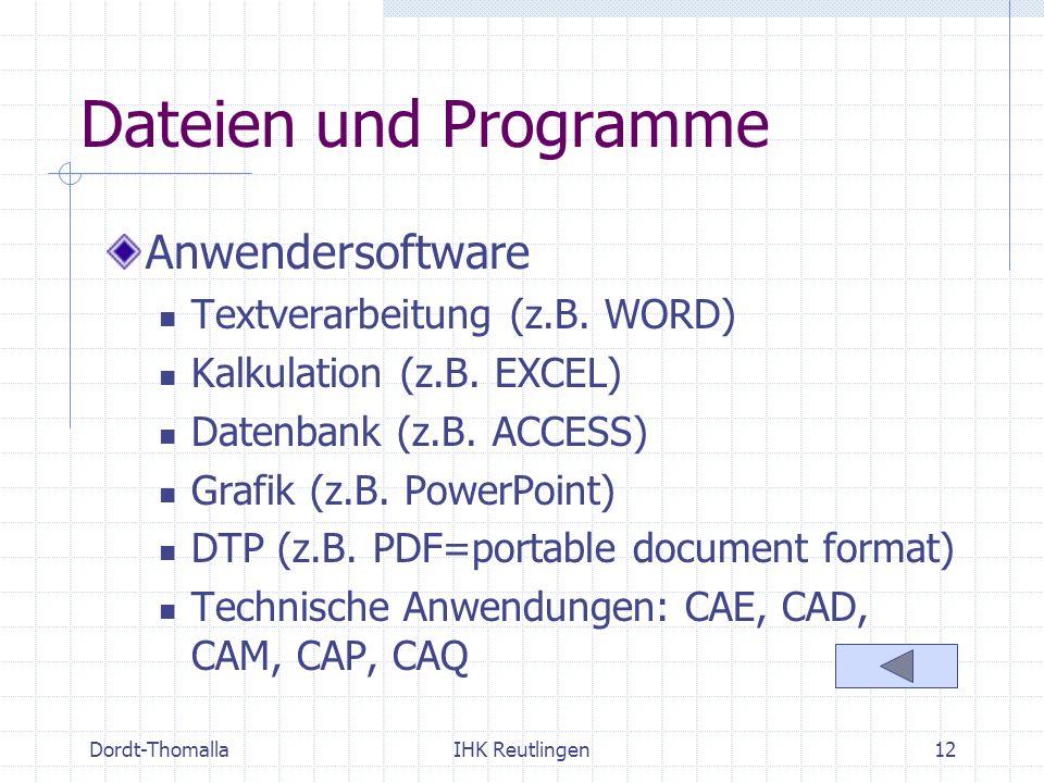 Dordt-ThomallaIHK Reutlingen12 Dateien und Programme Anwendersoftware Textverarbeitung (z.B. WORD) Kalkulation (z.B. EXCEL) Datenbank (z.B. ACCESS) Gr
