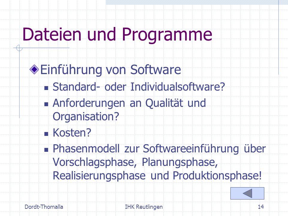 Dordt-ThomallaIHK Reutlingen14 Dateien und Programme Einführung von Software Standard- oder Individualsoftware? Anforderungen an Qualität und Organisa