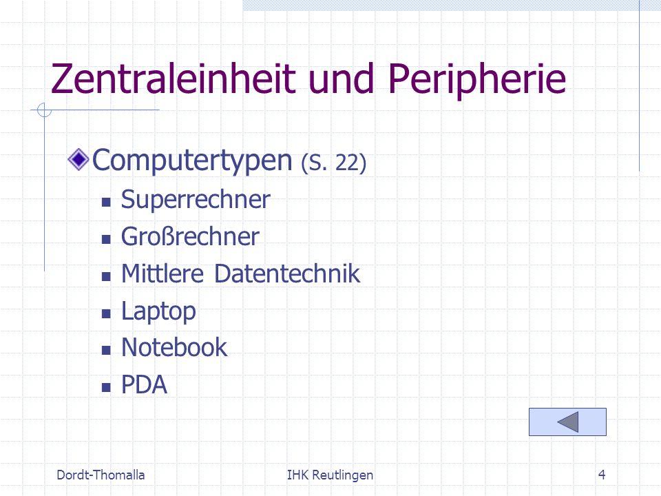 Dordt-ThomallaIHK Reutlingen4 Zentraleinheit und Peripherie Computertypen (S. 22) Superrechner Großrechner Mittlere Datentechnik Laptop Notebook PDA