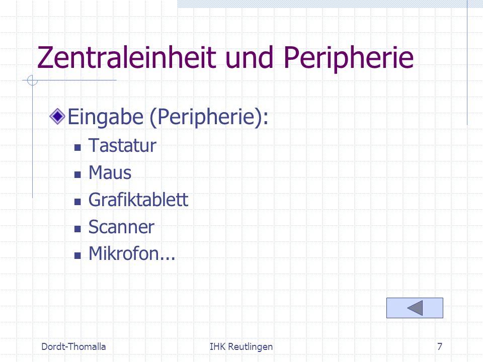 Dordt-ThomallaIHK Reutlingen8 Zentraleinheit und Peripherie Ausgabe (Peripherie): Monitor mit Grafikkarte Beamer Nadeldrucker Tintenstrahldrucker Laserdrucker Plotter
