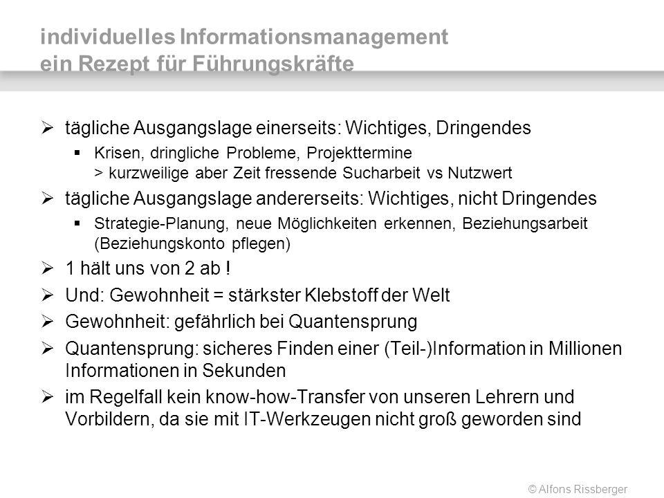 © Alfons Rissberger individuelles Informationsmanagement ein Rezept für Führungskräfte tägliche Ausgangslage einerseits: Wichtiges, Dringendes Krisen,