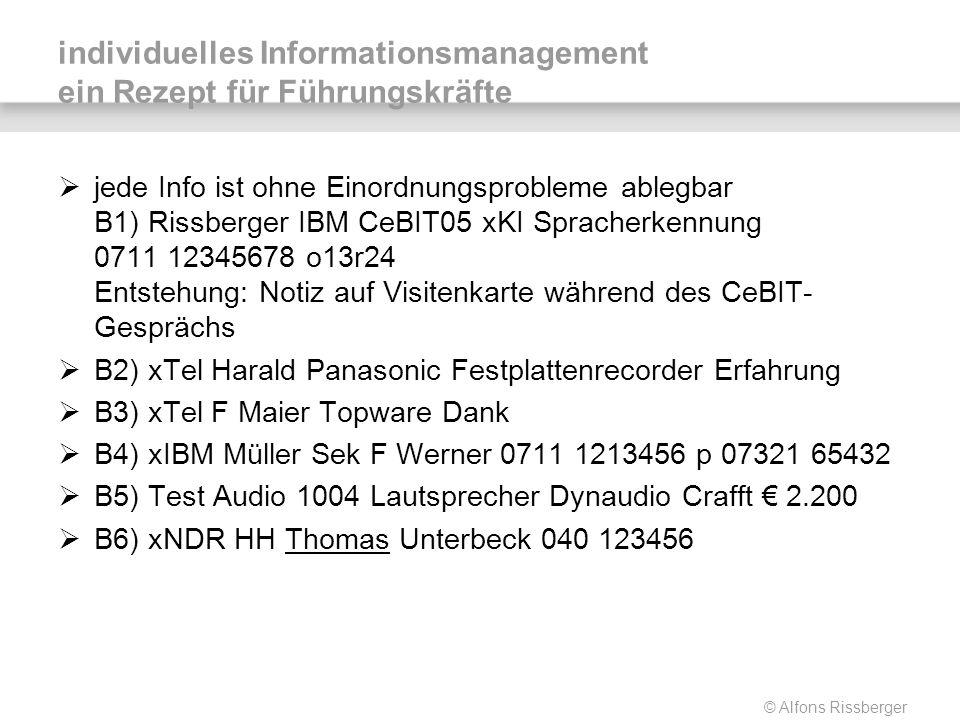 © Alfons Rissberger individuelles Informationsmanagement ein Rezept für Führungskräfte jede Info ist ohne Einordnungsprobleme ablegbar B1) Rissberger