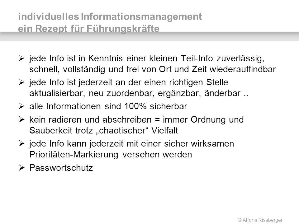 © Alfons Rissberger individuelles Informationsmanagement ein Rezept für Führungskräfte jede Info ist in Kenntnis einer kleinen Teil-Info zuverlässig,