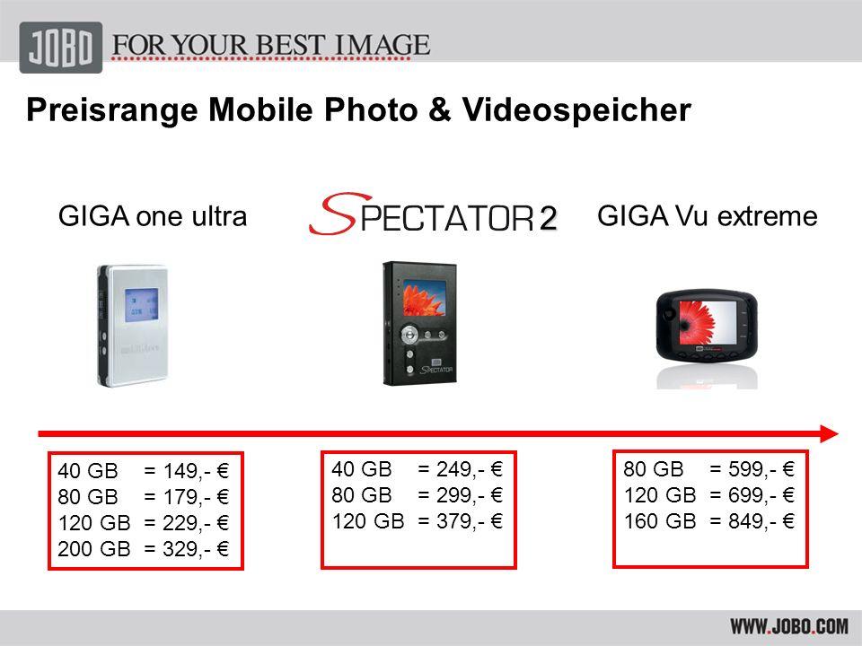 1 GB in 3 MinutenTransfergeschwindigkeit: 1 GB in 3 Minuten 40 / 80 / 120 / 200 GBKapazität der Festplatte: 40 / 80 / 120 / 200 GB SDHC fähig Lithium-Ionen Akku –ca.