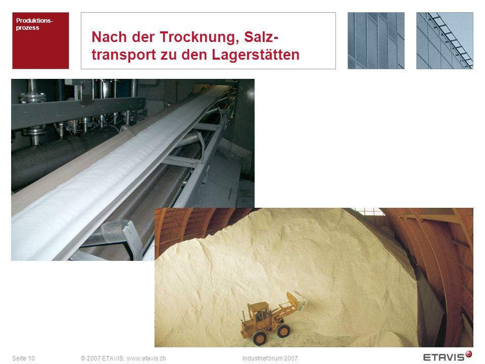 Seite 10© 2007 ETAVIS, www.etavis.chIndustrieforum 2007 Nach der Trocknung, Salz- transport zu den Lagerstätten Produktions- prozess