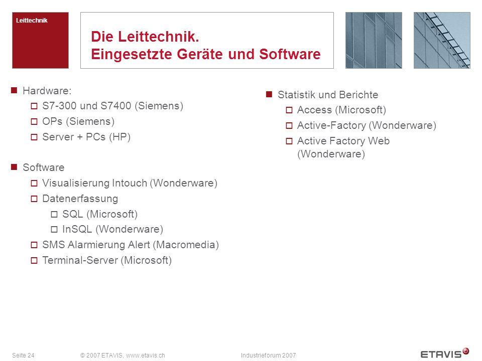 Seite 24© 2007 ETAVIS, www.etavis.chIndustrieforum 2007 Die Leittechnik.
