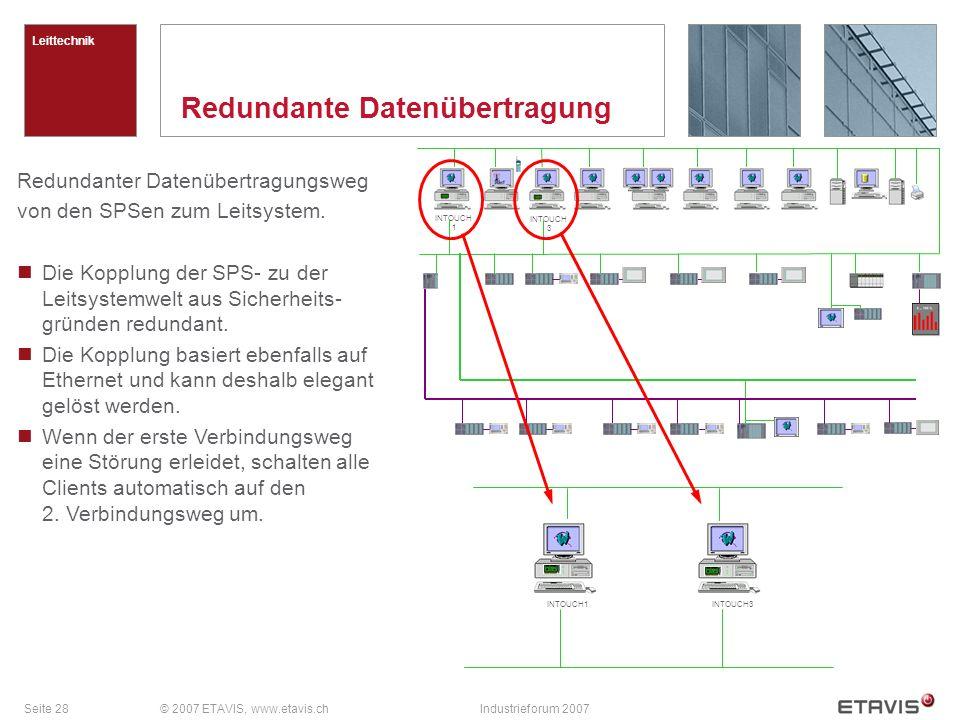 Seite 28© 2007 ETAVIS, www.etavis.chIndustrieforum 2007 Redundante Datenübertragung Leittechnik Redundanter Datenübertragungsweg von den SPSen zum Leitsystem.