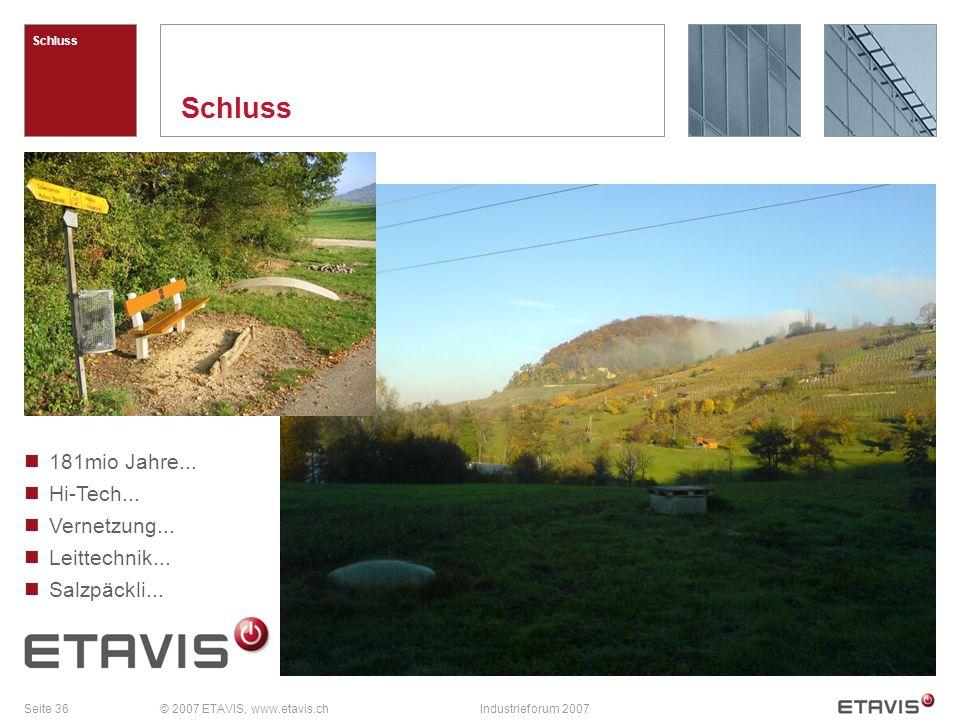 Seite 36© 2007 ETAVIS, www.etavis.chIndustrieforum 2007 Schluss 181mio Jahre...