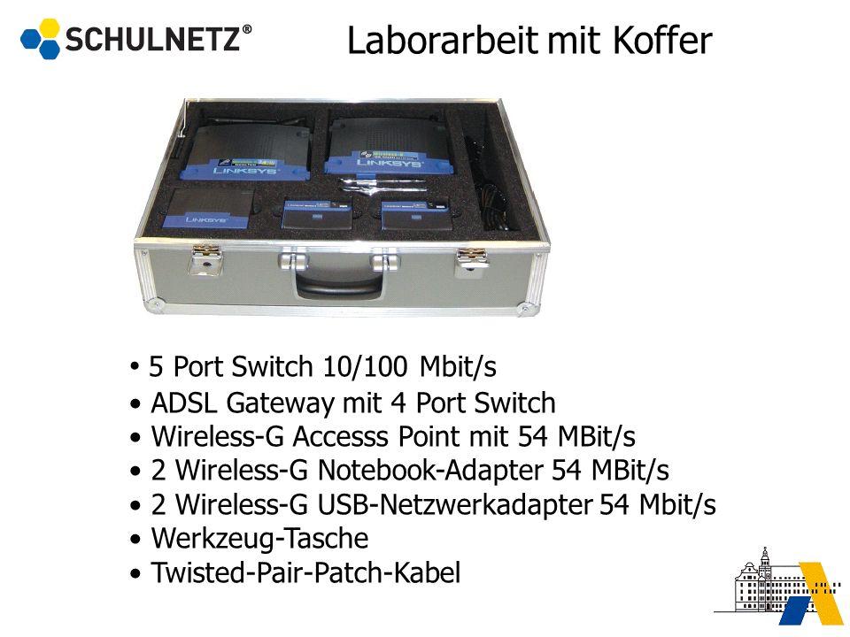 5 Port Switch 10/100 Mbit/s ADSL Gateway mit 4 Port Switch Wireless-G Accesss Point mit 54 MBit/s 2 Wireless-G Notebook-Adapter 54 MBit/s 2 Wireless-G