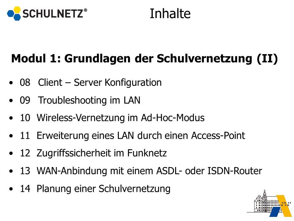 Modul 1: Grundlagen der Schulvernetzung (II) 08Client – Server Konfiguration 09Troubleshooting im LAN 10 Wireless-Vernetzung im Ad-Hoc-Modus 11 Erweit