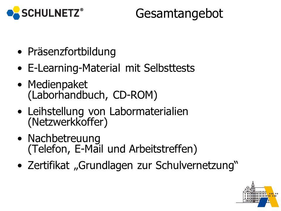 Gesamtangebot Präsenzfortbildung E-Learning-Material mit Selbsttests Medienpaket (Laborhandbuch, CD-ROM) Leihstellung von Labormaterialien (Netzwerkko