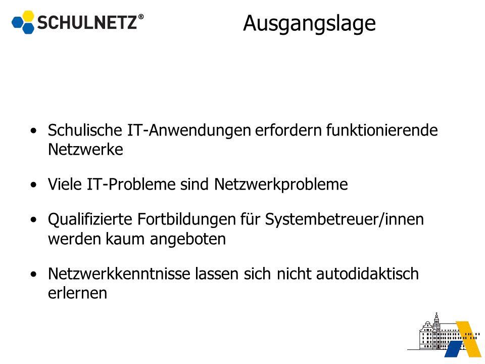 Ausgangslage Schulische IT-Anwendungen erfordern funktionierende Netzwerke Viele IT-Probleme sind Netzwerkprobleme Qualifizierte Fortbildungen für Sys