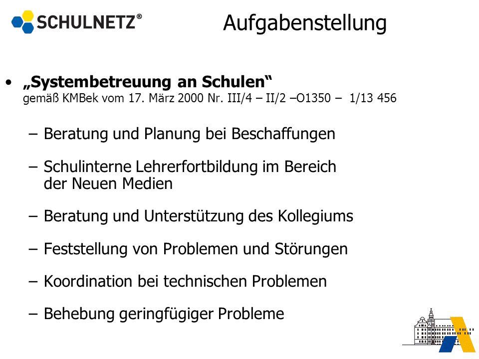 Aufgabenstellung Systembetreuung an Schulen gemäß KMBek vom 17. März 2000 Nr. III/4 – II/2 –O1350 – 1/13 456 –Beratung und Planung bei Beschaffungen –
