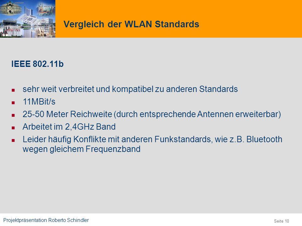Projektpräsentation Roberto Schindler 9,825,461,087,64 10,91 6,00 0,00 8,00 Seite 10 IEEE 802.11b sehr weit verbreitet und kompatibel zu anderen Stand