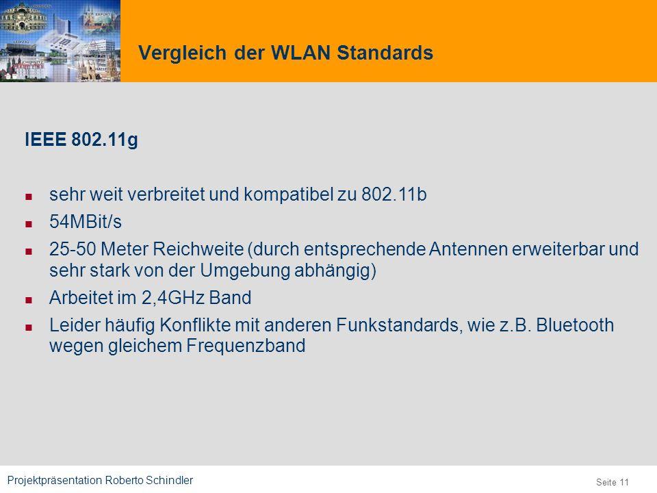 Projektpräsentation Roberto Schindler 9,825,461,087,64 10,91 6,00 0,00 8,00 Seite 11 Vergleich der WLAN Standards IEEE 802.11g sehr weit verbreitet un