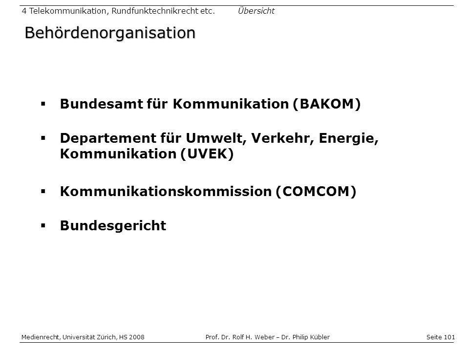 Seite 101 Medienrecht, Universität Zürich, HS 2008Prof.