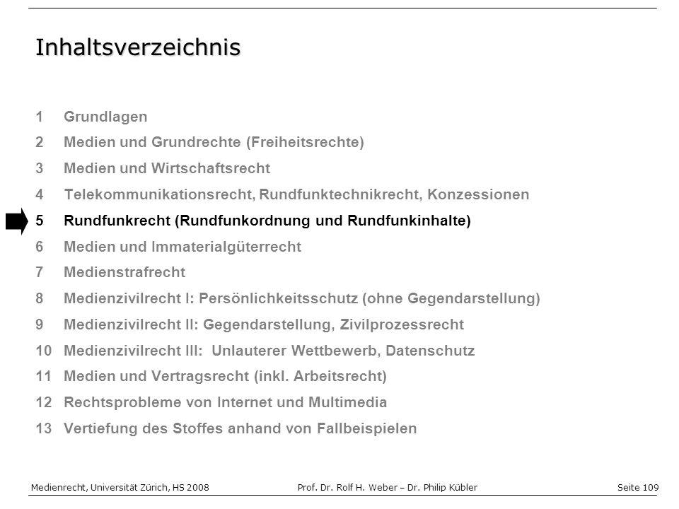 Seite 109 Medienrecht, Universität Zürich, HS 2008Prof.