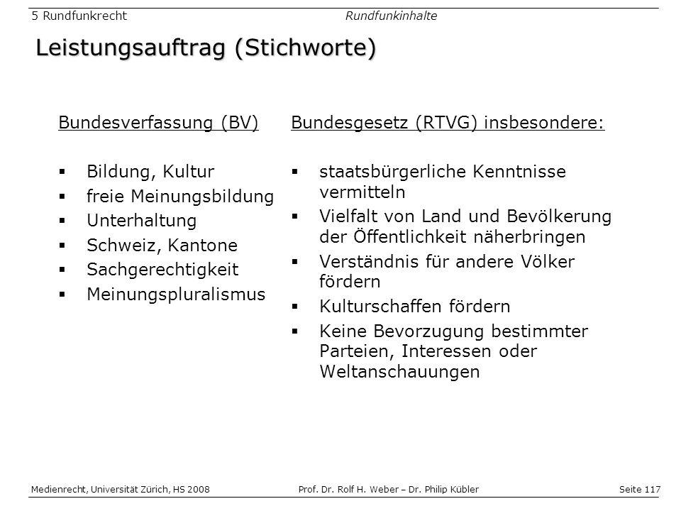 Seite 117 Medienrecht, Universität Zürich, HS 2008Prof.