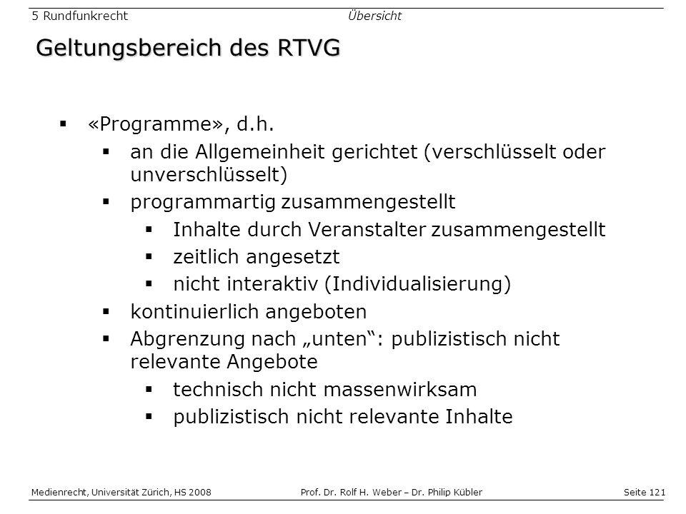 Seite 121 Medienrecht, Universität Zürich, HS 2008Prof.
