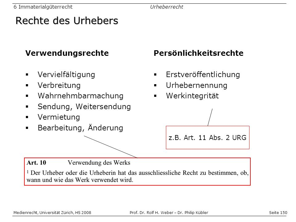 Seite 150 Medienrecht, Universität Zürich, HS 2008Prof.