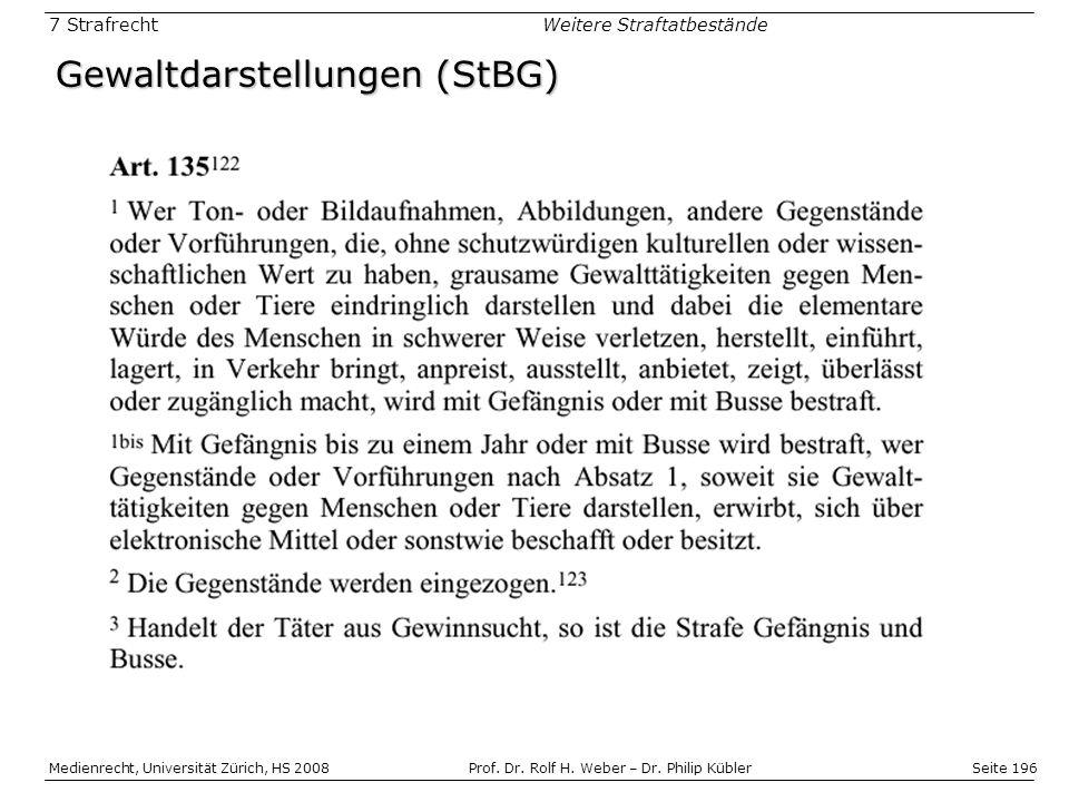 Seite 196 Medienrecht, Universität Zürich, HS 2008Prof.