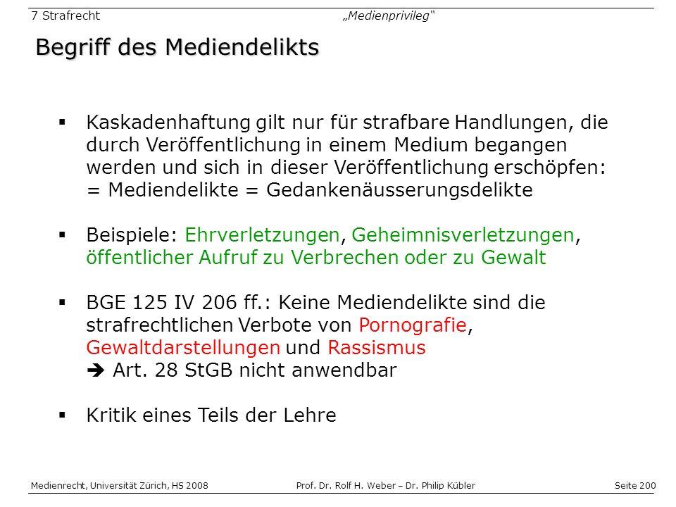 Seite 200 Medienrecht, Universität Zürich, HS 2008Prof.