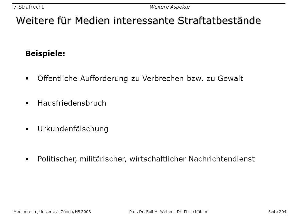Seite 204 Medienrecht, Universität Zürich, HS 2008Prof.