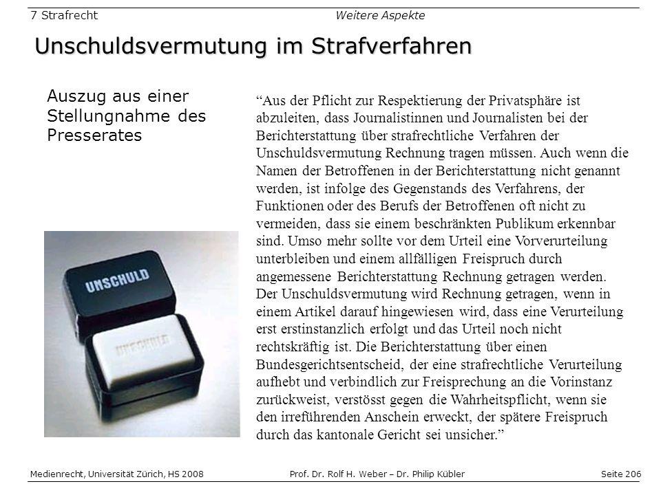 Seite 206 Medienrecht, Universität Zürich, HS 2008Prof.