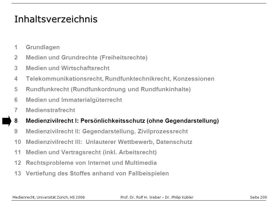 Seite 209 Medienrecht, Universität Zürich, HS 2008Prof.