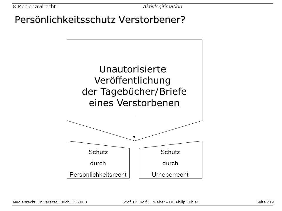 Seite 219 Medienrecht, Universität Zürich, HS 2008Prof.