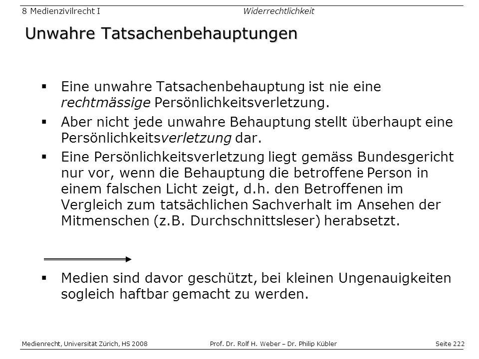 Seite 222 Medienrecht, Universität Zürich, HS 2008Prof.