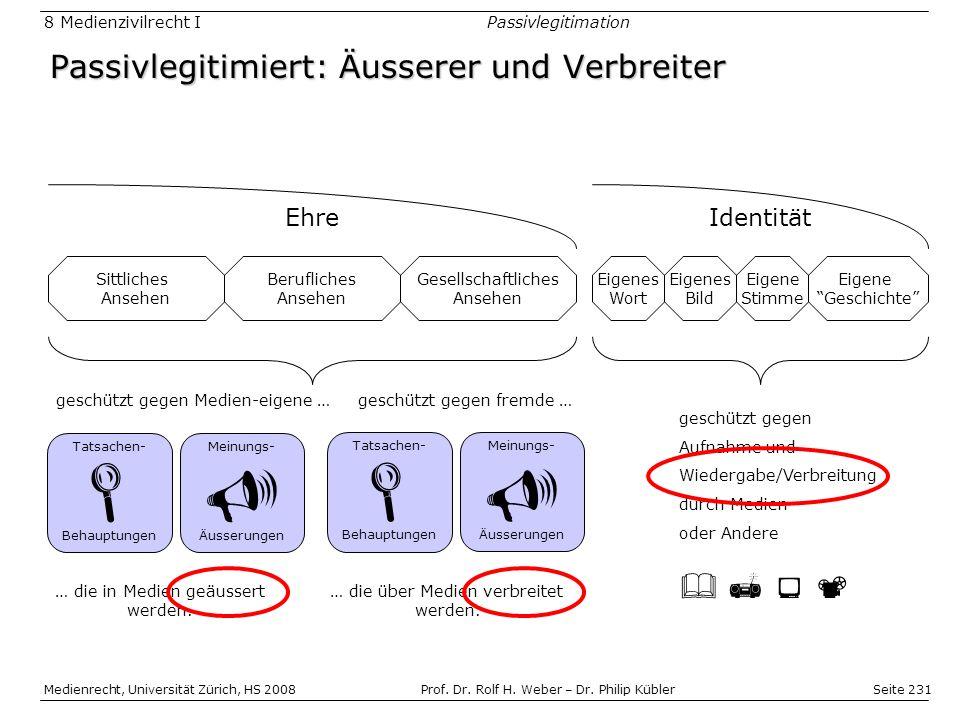 Seite 231 Medienrecht, Universität Zürich, HS 2008Prof.