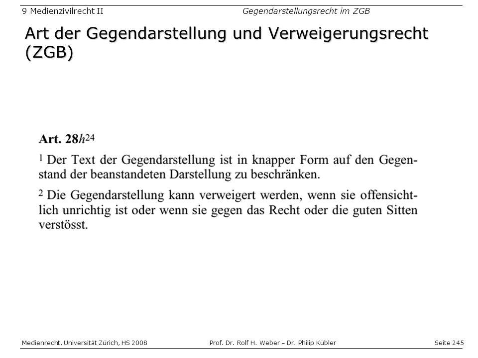 Seite 245 Medienrecht, Universität Zürich, HS 2008Prof.