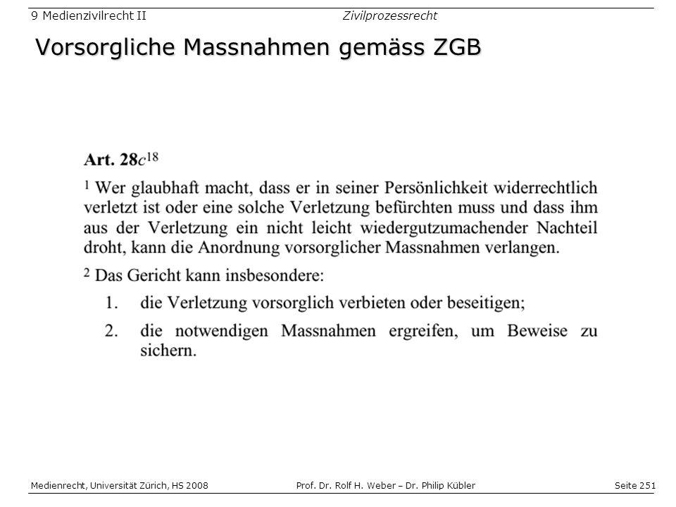 Seite 251 Medienrecht, Universität Zürich, HS 2008Prof.