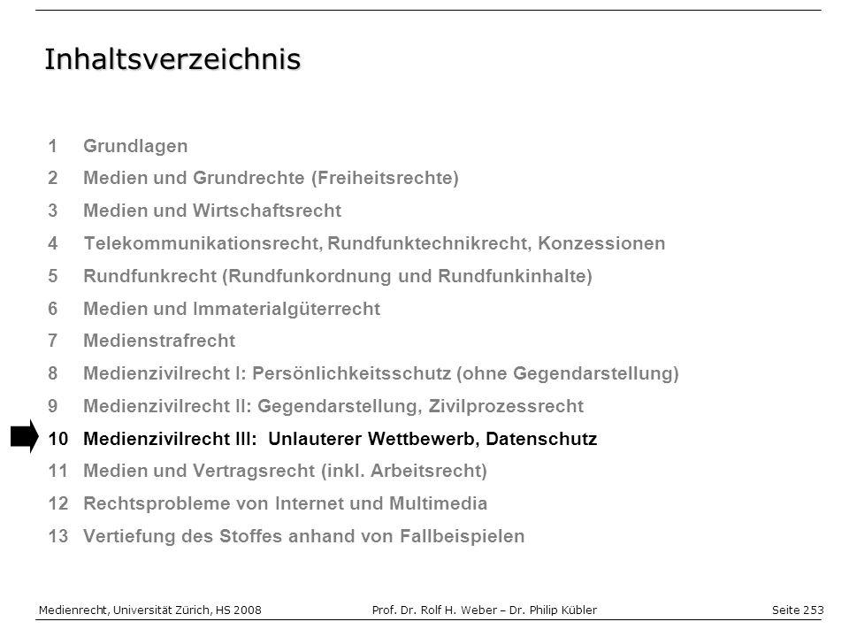 Seite 253 Medienrecht, Universität Zürich, HS 2008Prof.