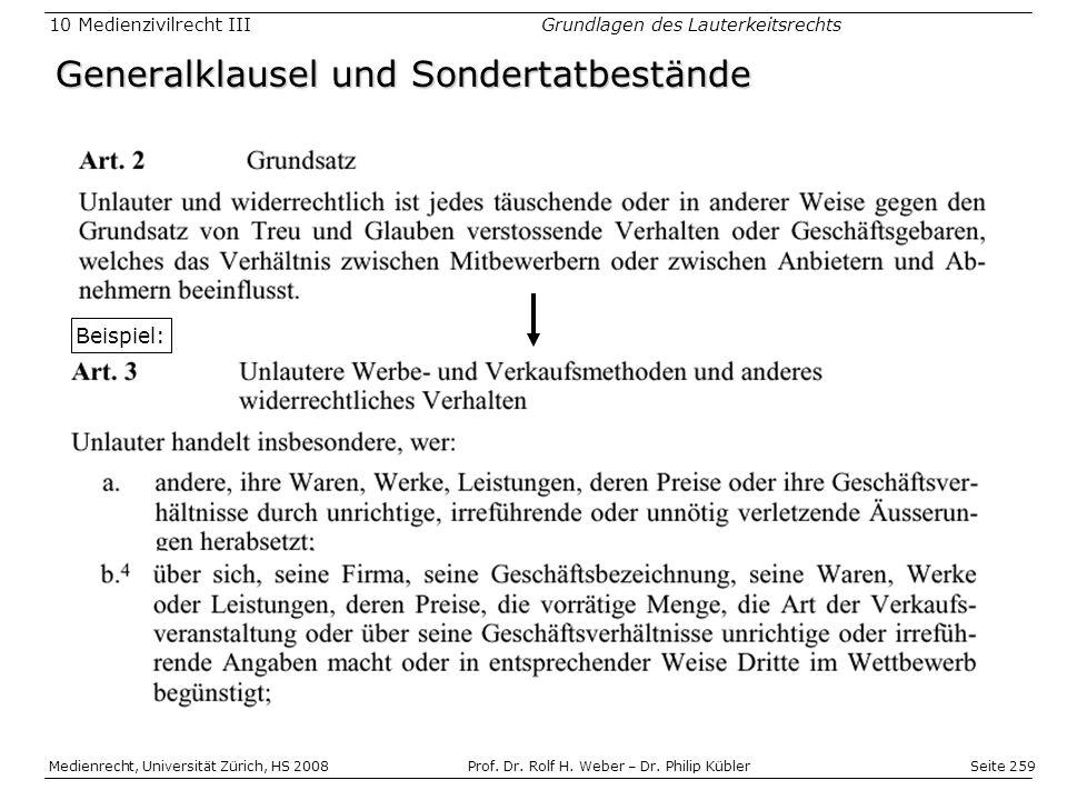 Seite 259 Medienrecht, Universität Zürich, HS 2008Prof.
