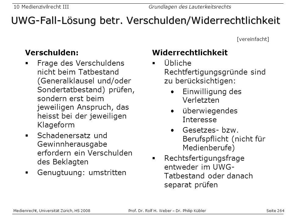 Seite 264 Medienrecht, Universität Zürich, HS 2008Prof.
