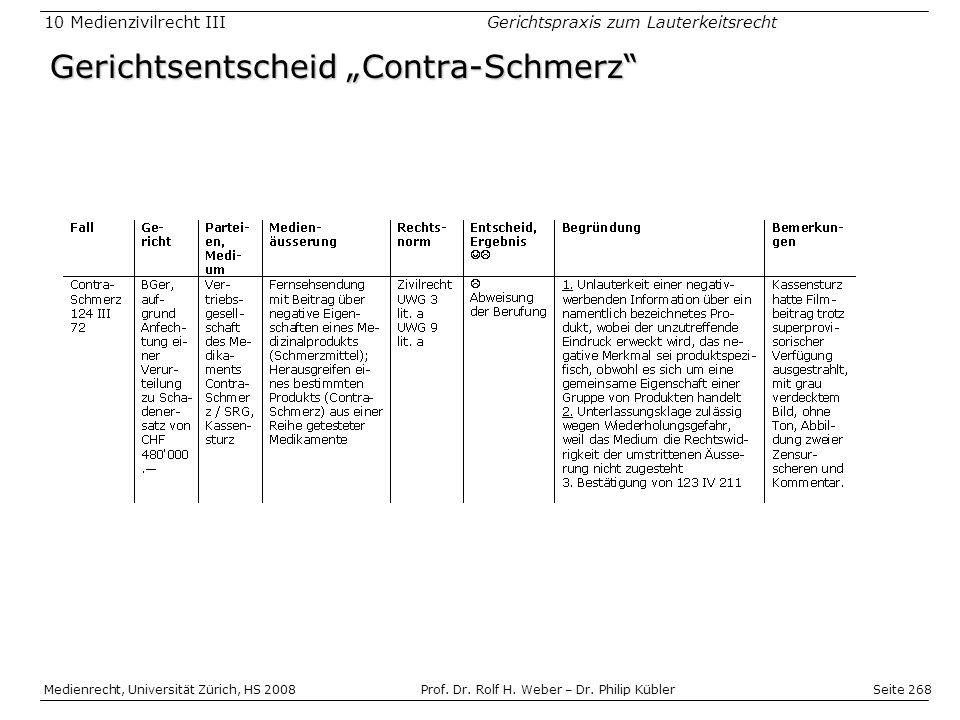 Seite 268 Medienrecht, Universität Zürich, HS 2008Prof.