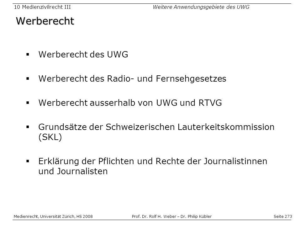 Seite 273 Medienrecht, Universität Zürich, HS 2008Prof.