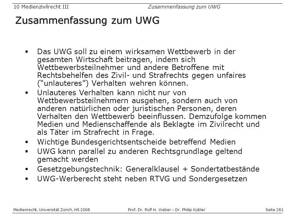 Seite 281 Medienrecht, Universität Zürich, HS 2008Prof.