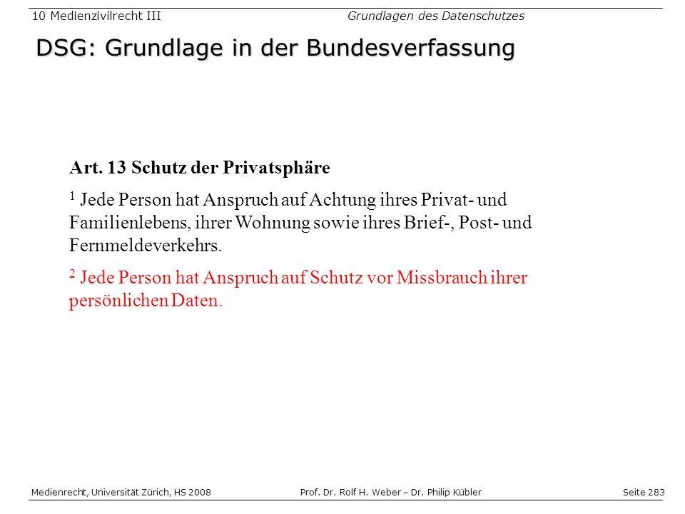 Seite 283 Medienrecht, Universität Zürich, HS 2008Prof.