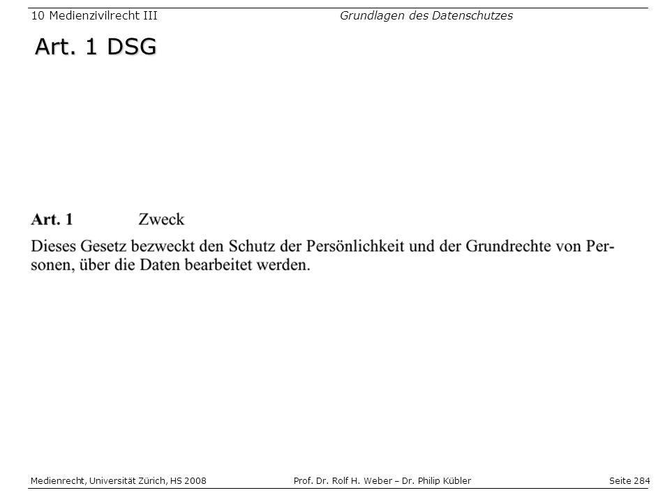 Seite 284 Medienrecht, Universität Zürich, HS 2008Prof.
